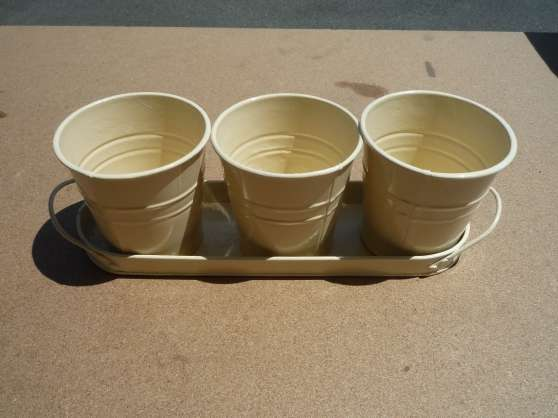 3 pots de fleur déco couleur crème