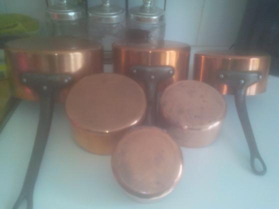 Batterie de casserole en cuivre épais