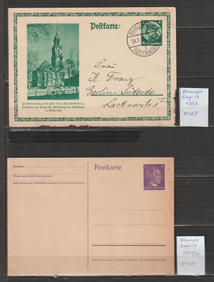 timbres ALLEMAGNE EMPIRE entier postal