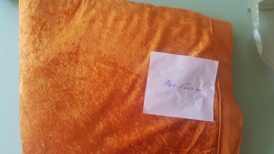 tissu velour extensible orange