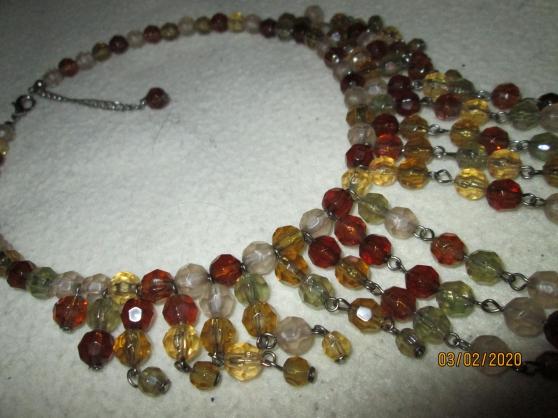 Collier Vintage Perles saphir Et Argent