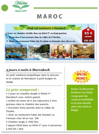 Annonce occasion, vente ou achat 'weekend inoubliabla Marrakech'