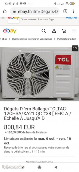 Annonce occasion, vente ou achat 'Climatiseur TCL modèle TAC-12CHSA'