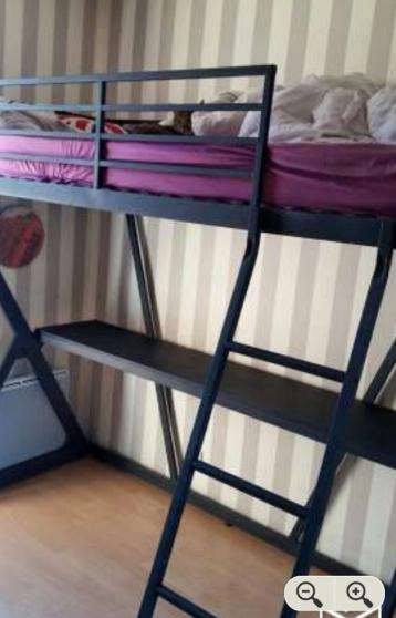 lit mezzanine en 90 avec bureau int gr meubles d coration lits ambilly reference meu lit. Black Bedroom Furniture Sets. Home Design Ideas