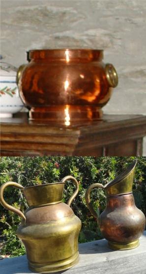 Lot 3 pots en cuivre ou cuivre et laiton