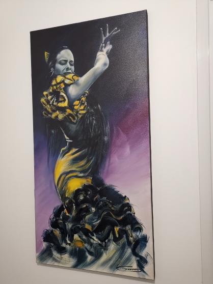 """Magnifique peinture à l'huile """"Flamenco"""""""