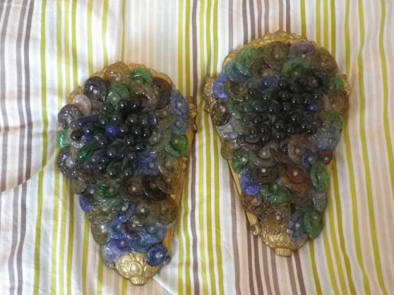2 appliques en bronze + verre de murano