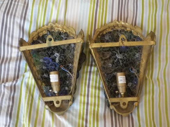 2 appliques en bronze + verre de murano - Photo 2