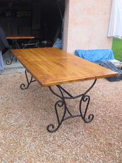 Table Bois Et Fer Forge Allonge 4chaises Marche Fr
