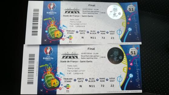 Annonce occasion, vente ou achat 'Deux places finale de l\'Euro 2016'