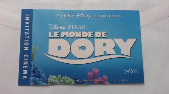 """Petite Annonce : Invitation deux places le monde de dory - Invitation deux places de cinéma pour \"""" Le Monde de Dory \"""" valable"""