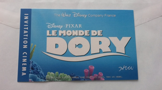 Invitation deux places Le Monde de Dory