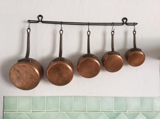 Lot de 5 casseroles en cuivre étamé