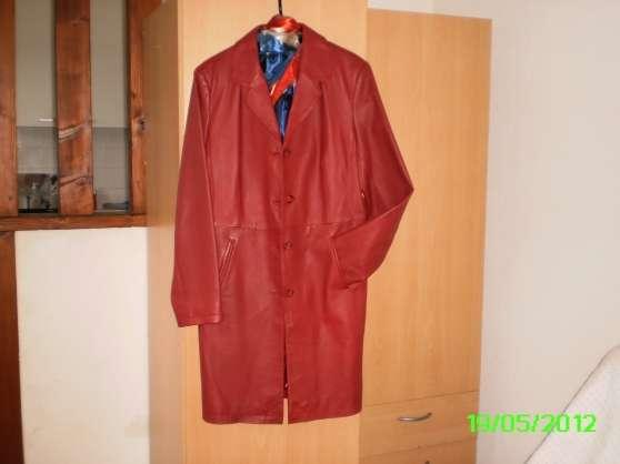 manteau femme cuir rouge