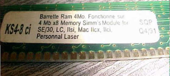 memoire simm30 1mo macPlus MacSE Classic