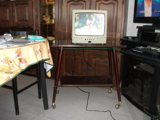Petite Annonce : Tv couleur 36cm + son meuble à roulettes - TV couleur 36 cm en état de marche (prise péritel et prise antenne à
