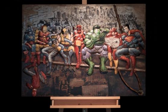 Tableau métallique 3D 'Heroes of the Ci