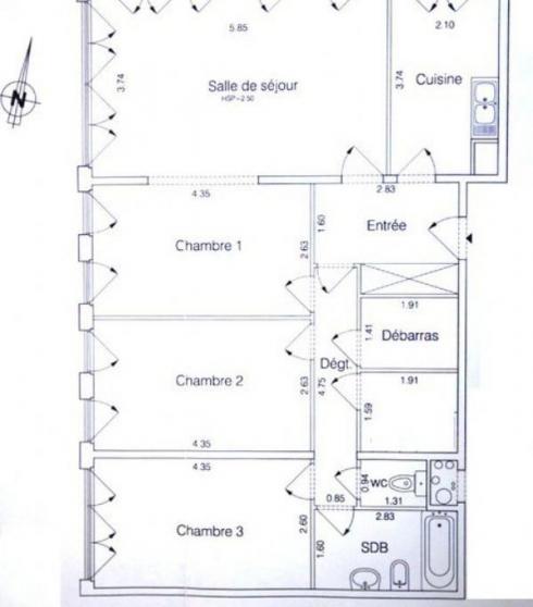 Appartement F4 en colocation sur paris