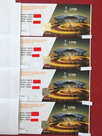 4 billets cat1 finale Europa League Lyon