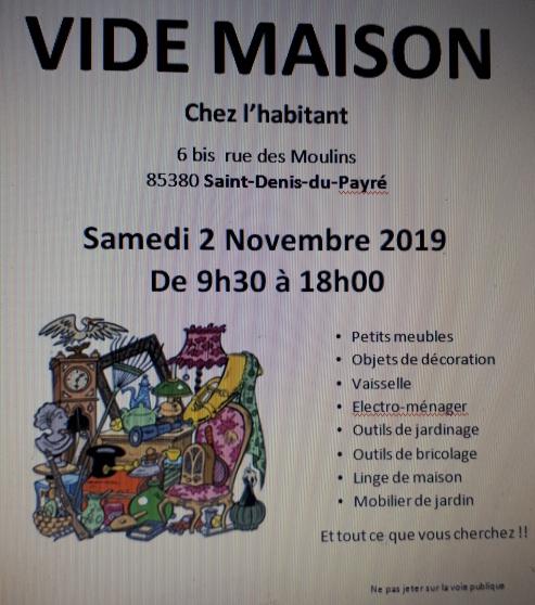 Annonce occasion, vente ou achat 'VIDE MAISON le 2 novembre 2019'
