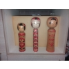 3 vintage kokeshi