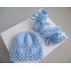 Bonnet chaussons BLEUS tricot laine fait