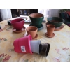 Lots 5 pots terre cuite avec soucoupes